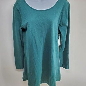 Forever 21 Long Sleeve Green Tunic Top NEW Medium